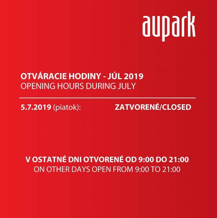 2fe967a7c3024 Otváracie hodiny nákupného centra - 5. Júl 2019 - Aupark Košice